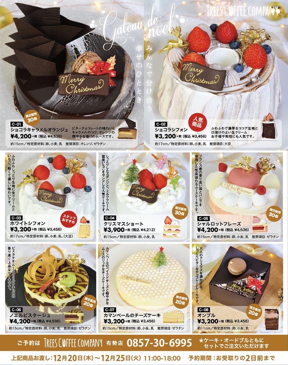 鳥取 カフェのクリスマスケーキ